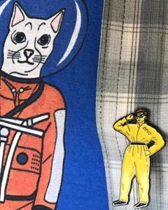 Devo pin and astronaut cat